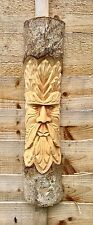ChiselCraft 50cm Big Green Man Leaf Face Wood Carving Tree Log Plaque In Out 1