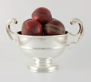 Antique Silver Plate Trophy Bowl & 9 Cricket Balls. Decorative Cricketer Gift