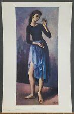 "Moses Soyer Vintage Print ""The Blue Dancer"" 22""×14"" 1960's  Shorewood Publishers"