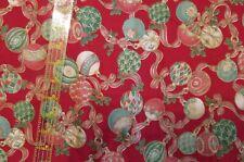 Christmas cotton fabric Red ornament toss gold metallic accent Bthy Kessler