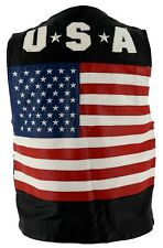 Leather American Flag U S A Motorcycle Snap Button Biker Vest Size Small S