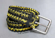 Paracord Survival Belt - Black and Bumblebee with Matte Nickle Buckle - S M L XL