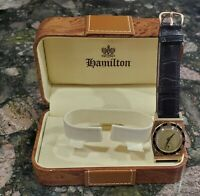 ⌚Hamilton 28mm Watch Piping 14k Gold 747 Movement Hinged Case Rare Buckle & Box