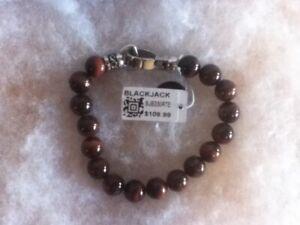 BLACKJACK Men's Stainless Steel Beaded Bracelet Red Tiger Eye BJB230RTE