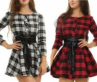 New Plaid Women Long Sleeve Check Belt Tunic Cocktail Evening Party Mini Dress