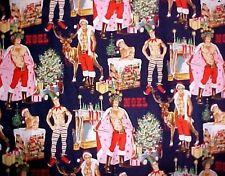 Xmas Fabric Cotton Sexy Santa Elf Pin Ups Men HURRY DOWN CHIMNEY Navy Henry YD