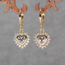 18K Gold Filled - Luxury Earrings Flower Heart Clear Topaz Zircon Jewelry Gift