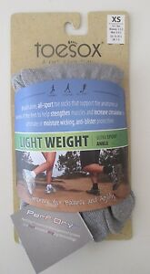 NIP ToeSox Ultra Sport Light Weight Crew Socks Grey XS Anti-Blister Protection!
