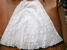 Anthropology Dallin Chase Long  White Peasant Skirt~Cotton Ladder Lace Voile~LG