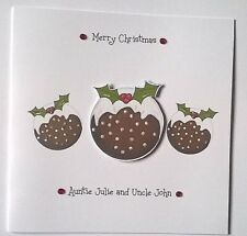 Lovely Personalised Handmade 3d Xmas Puddings CHRISTMAS CARD.Family or  Friends