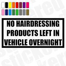 No los productos de peluquería izquierda en vehículo durante la noche coche divertido ETIQUETA / ETIQUETA