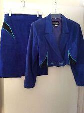 Women's blue suede skirt suit