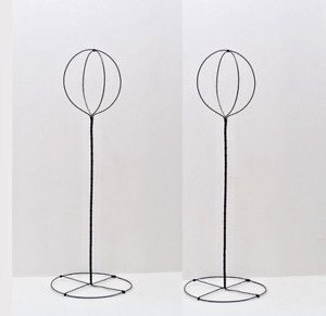 2 Vintage Tall Black Wire Hat Stands