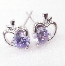 Women Girl New White Gold Plated Cubic Zirconia Heart Charm Lilac Stud Earrings