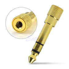 """Gold 6.3mm 1/4"""" Male to 3.5mm 1/8"""" Female Stereo Plug Audio Adapter Converter"""