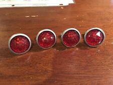 VINTAGE LICENCE PLATE REFLECTORS MINT SET 4. RED