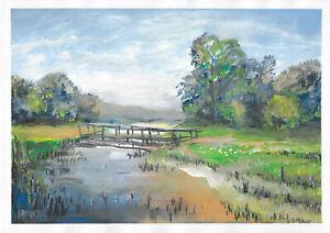 original painting A3 258MA art samovar modern gouache landscape