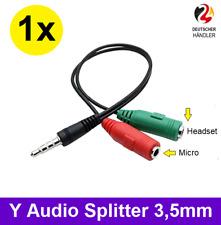 Splitter AUX Y-Adapter Kabel Verteiler Audio 3,5mm Klinke Stecker Kopfhörer Mic