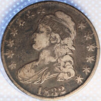 1832 CAPPED BUST HALF DOLLAR, SHARP, ORIGINAL SURFACES, TOUGH EARLY DATE, OLDE!