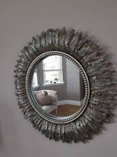Wall Mountable Round Golden Feather Mirror Antique Effect Living Room Bedroom