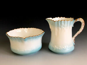 Antique Moore Brothers England Porcelain Mini Open Sugar Bowl And creamer