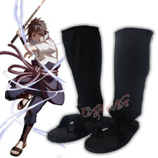 Cafiona NARUTO Uchiha Sasuke Cosplay Shoes Black Ninja Version Boots Halloween