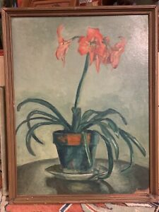 1936 Original Oil Still Life Orange Lilies Signed Painting