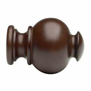 """New Kirsch Elegance Wood Button Ball Finials for 1 3/8"""" Diameter Pole-1 Pair NIP"""