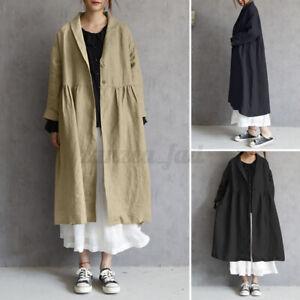 ZANZEA Womens Evening Long Coat Trench Long Sleeve Outerwear Jacket Baggy Plus