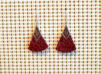 Fine Vintage Sterling Silver Red Fossil Sponge Coral Drop Dangle Earrings