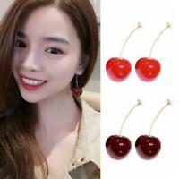 Simulation Süße Rote Kirsche Obst Ohrringe Ohrstecker Frauen Modeschmuck Mä O2H6