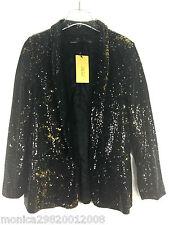 Zara da donna Nero Oro paillettes Blazer Taglia Small NUOVA RIF. 8465 430
