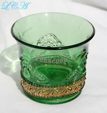 Antique GREEN & GOLD glass PENACOOK NEW HAMPSHIRE souvenir cup OVER CENTURY old