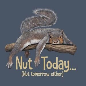 Squirrel T-shirt S M L XL XXL Nut Today Cotton NWT NEW Blue Nut Tomorrow Either