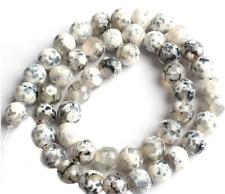 20pcs x 8mm  natural white / black fire agate beads  diy jewellery uk seller