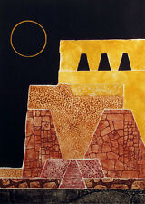"Martha Slaymaker ""Moon Temple"" Signed Numbered Collagraph Etching Fine Art, OBO!"