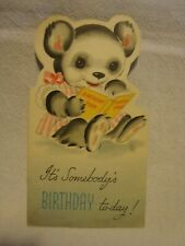 Vintage Birthday Cards Dressed Bear reading a book