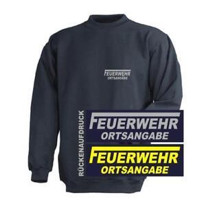 FEUERWEHR Sweat-Shirt / Pullover navy Brust- und Rückenaufdruck Ortsangabe
