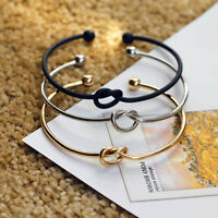 Women's Fashion Silver Gold Plated Knot Bangle Bracelet Gift Jewelry top hot new