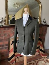 BNWOT Girls Pytchley Size 30 Green/Tan/Gold Overcheck Tweed Show Jacket Double V