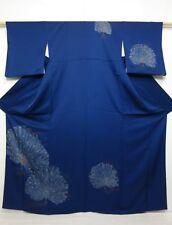 4102N09z940 Japanese Kimono Silk TSUKESAGE Dark blue Peacock