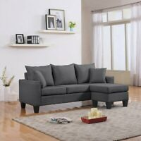 Modern L-Shape Couch Small Space Sectional Sofa, Reversible Chaise, Grey Sofa