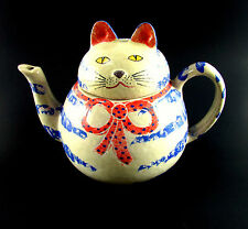 """Vintage Hand Crafted Painted Italian """" CAT KITTY """" Pottery Teapot - NO CHIPS"""