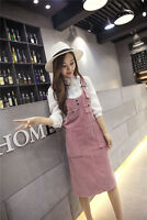 Women Corduroy High Waist Strap Dungaree Dress Overalls Suspender Skirts