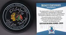 BECKETT ED BELFOUR HOF 2011-THE EAGLE SIGNED CHICAGO BLACKHAWKS GAME PUCK J32291