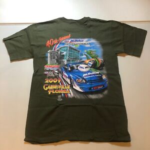 NWT NHRA 40th Annual AC Delco Gator Nationals 2009 Green T Shirt Anvil Size M