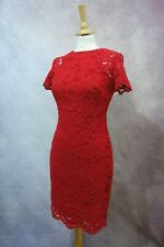 RALPH LAUREN RED FLORAL LACE COCKTAIL PARTY FITTED SHEATH DRESS Sz 8