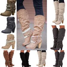 Damen Schnallen Blockabsatz Stiefeletten Kniehohe High Heels Modische Stiefel
