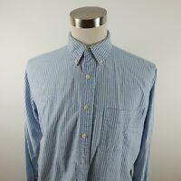 Abercrombie Mens Cotton LS Button Down Blue White Striped Dress Shirt No Tag L?