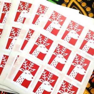 72 Christmas reindeer stickers, reindeer labels. Stamp style. Envelope seals
